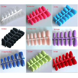 Wholesale fake nails designs - Wholesale Short Designs Fake Nails Faux Ongles Full Cover False Acrylic Nails Artificial Design Tips ! 15 Colors Choices