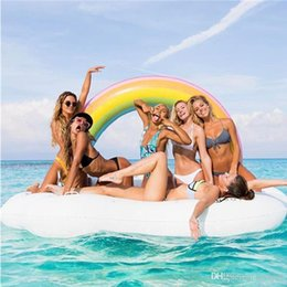Wholesale Large Inflatable Toys - Inflatable Rainbow Float 215*140*130CM ECO-Friendly PVC Summer Outdoor Ride-On Pool Toys Large Floatie Lounge Fun Adult Kid Swim Party Toys