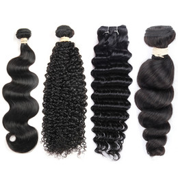 Wholesale loose deep hair extensions - Wholesale Price Brazilian Virgin Hair 1 Bundles Mink Brazilian Hair Extension Straight Body Wave Kinky Curly Deep Wave Loose Wave