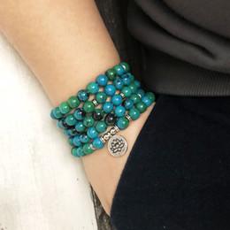108 cuentas verdes Mala pulsera Lotus Flower OM muñeca budista Buda Yoga pulseras para hombres Unisex azurita pulsera de piedra desde fabricantes