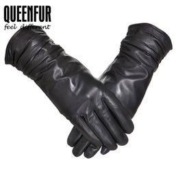 Wholesale Real Leather Men Gloves - Genuine Leather Gloves Women Real Sheepskin Leather Cotton Lining Adult Winter Spring Female Driving Warm Mittens