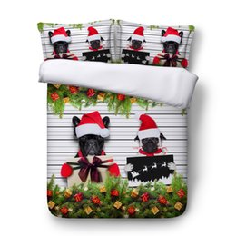 Набор постельных принадлежностей для королевского размера онлайн-3pcs blue / red / golden Christmas bedding single double queen super king size duvet cover set Santa Claus tree bed set
