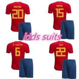 Wholesale Espana Jersey - Spain home Jerseys 2018 KIDS kits RAMOS ISCO ASENSIO THIAGO MORATA 18 19 world cup Espana soccer jersey kit shirt Football uniforms