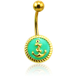 Wholesale Gold Navel Piercing Jewelry - Fashion Belly Button Rings Stainless Steel Barbell Enamel Anchor Navel Rings For Men Body Piercing Jewelry