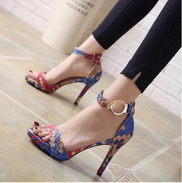 Wholesale american classic shoes - 2018 New European and American sexy hollow-heeled shoes with high heels in the summer new club shoes.Women's shoes with colored fish mouth25