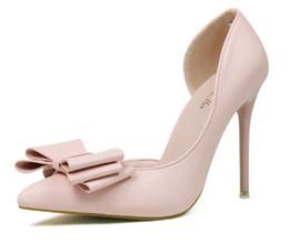 Argentina zapatos de vestir de tacón alto para mujeres temperamento hashion pajarita puntiaguda dedo del pie boca baja recortes laterales zapatos de boda Suministro