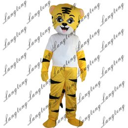 Wholesale tiger dress costume - 2018 New high quality Yellow sport tiger Mascot costumes for adults circus christmas Halloween Outfit Fancy Dress Suit Free Shipping
