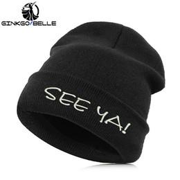 sombreros de beanie fresco para las mujeres Rebajas Beanie Hat Skullie Cap Slouchy Invierno Bordado Cool Punk Hombres Mujeres Niño Chica Adolescentes Baile callejero: nos vemos