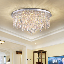 simple round crystal lighting Promo Codes - Simple and creative modern LED round glacier pendant crystal lamp luxury living room lamps bedroom ceiling led lighting fixture