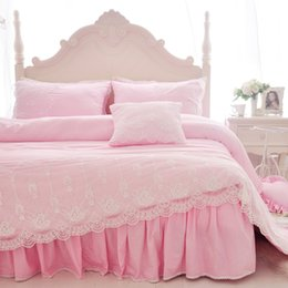 Wholesale Pillowcase Skirt - Solid Color Princess Bedspread Bedding Sets Luxury 4pcs Pink Bed Skirt Lace Edge Duvet Cover Bedclothes Bed sheet Pillowcases