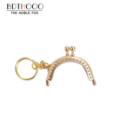 Wholesale Metal Purse Handles Wholesale - purse frame handle 20PCS 5cm Metal Coin Purse Frame Handle with Keyring Kiss Clasp Lock Bags Hardware Antique Bronze for Clutch Bag
