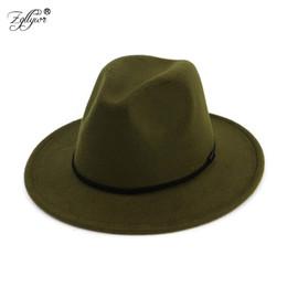 Zgllywr sombrero de ala ancha para mujer elegante grande de ala ancha sombrero  de invierno estilo de lana británica señora Jazz plana 552cab8c2ea
