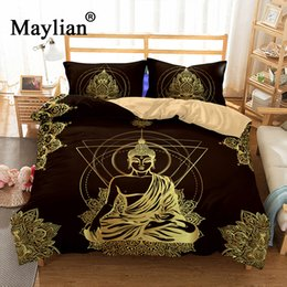 red white black quilt sets Coupons - Buddha Bedding Set Mandala Quilt Cover Peace Design Bed Set Bohemian a Mini Van Bedclothes 3pcs BE1111