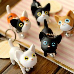 Wholesale Cute Cats Kittens - 2018 New Fashion Cute Kawaii Metal Kitten Cat Key Chain Ring Anime Keychain Novelty Creative Trinket Charm Women Girl Kids