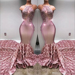 Wholesale Beaded Dress Tulle Skirt - 2018 Halter Satin Mermaid Long Prom Dresses 3d Rose Skirt Lace Applique Beaded Formal Party Evening Gowns BA7797