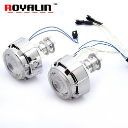 Wholesale H4 Halogen Xenon - ROYALIN 2PCS Motorcycle Headlight Lens H1 CCFL Twin Angel Eyes Xenon Halogen Universal Projector for H4 H7 Front High Low Beam