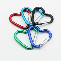 Wholesale Heart Shaped Hook - Cute Mini Heart Shaped Aluminum Alloy Locking Mounting Carabiner Snap Hook Holder LX1890