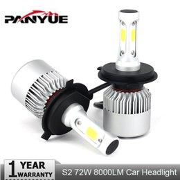 Wholesale H13 Hi Lo - 2PCs S2 H7 H4 LED Bulb Car Headlight COB H11 H1 H13 H3 H27 9005 HB3 9006 HB4 9007 Hi-Lo Beam 72W 8000LM Auto Headlamp