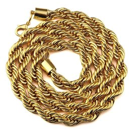 Wholesale Men Heavy Gold Chain - Hip Hop MEN Rapper'S 30 Inch 6mm, 9mm Various Size Twisted Heavy Rope Chain Necklace In Gold Finish Braided Necklace