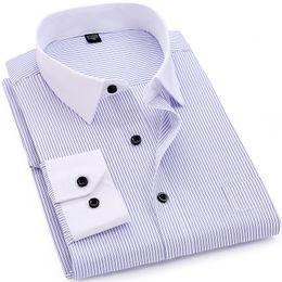 2d07992ffa9 Striped Men Dress Shirt White-collar Design Formal Fashion Long Sleeve  Business Men Casual Shirt Regular Fit Plus Size 7XL 8XLY1882203 linen shirts  designs ...