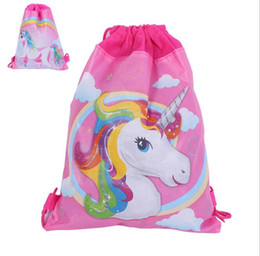 Wholesale Cm Themes - 34*27 cm Unicorn Drawstring Backpack Girls Princess Kids Theme Party Backpack Candy Bags School backpack KKA4463