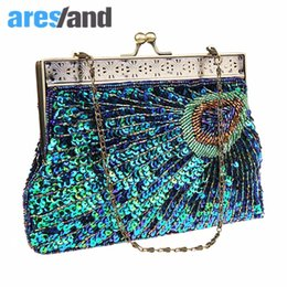 Wholesale traditional handbags - Aresland Women's Beaded Sequin Peacock Clutch Evening Bag Wedding Bridal Party Prom Handbag Chinese Traditional Clutch