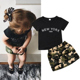 military t shirts wholesale Promo Codes - Black T-shirt camo A-Line skirt kid baby girls outfit fashion children letter print dress clothes toddler summer boutique 1-6Y