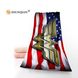 Wholesale Microfiber Logo - New Microfiber Towel Custom Wonder Woman Logo Face Towel  Bath Towel Size 70x140cm For Family Travel