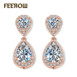 синие серьги из фарфора Скидка FEEHOW Fashion Elegant Bridal Jewelry Rose Gold Color Teardrop Cubic Zircon Drop Earrings For Women Wedding Party FWEP091