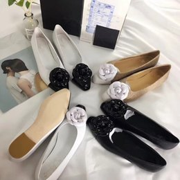 Wholesale Real Leather Ballet Flats - Free shipping real leather pointed toe flat shoes Fashion women flower flats Chic ballet shoes OL shoesEU35-39 size BY407