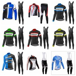 GIANT men team Cycling long Sleeves jersey bib pants sets thin Ropa Ciclismo  Fashion Breathable Quick dry MTB bicycle clothes 1110L 85c9e321d