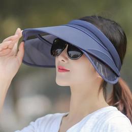 2019 cappello ad aria superiore 50pcs / lotto aria flessibile Top donne parasole cappello estivo piega protezione solare all'aperto spiaggia di sabbia difesa raggi ultravioletti cappello sole sconti cappello ad aria superiore
