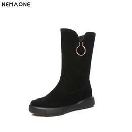 5e33846822cb NEMAONE Flats plataforma Botas Mulheres botas vintage feitos à Mão calçados  femininos de inverno preto damasco mulheres verdes sapatos casuais  apartamentos ...