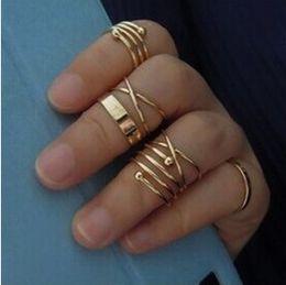 2019 einfache silberne schmucksets 6 Teile / satz Standard US Größe # 8 Ringe Set Silber Gold Ring Hochzeit Engagement Schmuck Einfache Ringe Set günstig einfache silberne schmucksets