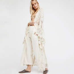 lunghi cardigan in pizzo per le donne Sconti Boho Women Solid Lace Long Dress Sexy Transparant Cardigan Beach Party Maxi Elegant Robes Mujer Autumn Spring Beige Abiti
