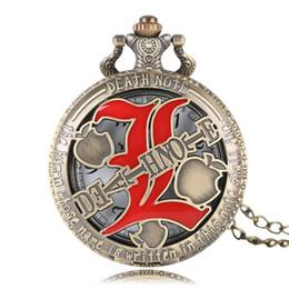 Медные часы для женщин онлайн-Fashion Death Note Full Hunter Quartz Pocket Watch Gift Bronze Roman Number Necklace Women Men Fob Watches Modern Copper Clock