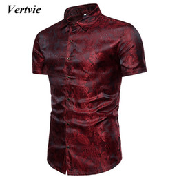 bright collar shirt Coupons - VERTVIE Men Bright Silk Shirts Shirts Short Sleeve Slim Fit Social Camisas Chemise Homme Casual Tops Plus Size 3XL