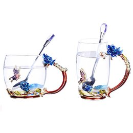 Wholesale Spoon Crystal - GFHGSD Enamel Glass Cups 350ml Creative Vintage Heat-resistant Coffee Mug With Handgrip And Crystal Spoon Blue Flowers