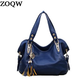 Wholesale Large Black Leather Hobo - Hot Sale 2018 New Spring And Autume Woman Messenger Bags Tassel Design Plus Woman Shoulder Bags PU Leather Ladies Handbags