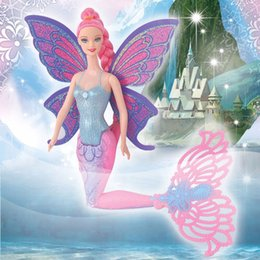 Wholesale Wholesale Mermaid Dolls - Fashion 40CM Original Swimming Mermaid Dolls Classic Ariel Mermaid Doll Toy With Butterfly Wings For Girl's Birthday Xmas Gifts