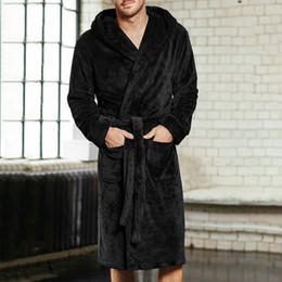 Thicken Coral Flannel Bathrobe Men Autumn Winter Casual Nightgown Long Men Women  Sleepwear Robe Homewear Hooded Pajamas 7F1357 men s winter bathrobes for ... 9c0802791