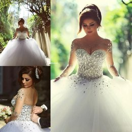 2019 vestido de noiva com vestido de bola Vestido De Baile Vestidos De Casamento Para A Noiva Disse Mhamad 2019 Chic Nupcial Vestidos de Manga Longa Lace Up Contas robe de mariage vestido de noiva