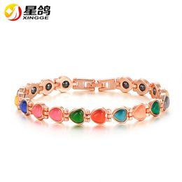 Wholesale Opal Bracelets - Europe Health Magnet Bracelet Gold Color Colorful Opal Bracelets & Bangles For Women Copper Jewelry Wholesale Pulseira