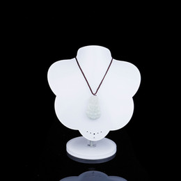 Wholesale White Necklace Bust - White Necklaces Holder Display Stand Acrylic Necklace Bust Chain Earrings Hanger Fair Market Booth Jewellery Organizer Free Shipping