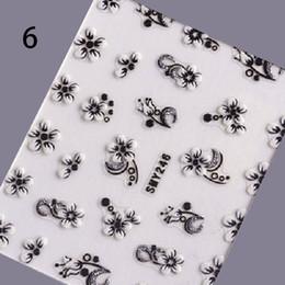 Chiodo arte fiori bianchi neri online-Nero Bianco Argento Nail Art Stickers Glitter Farfalla Fiore Decalcomanie 3D Nail Art Decorazioni Suggerimenti Manicure Design Tool