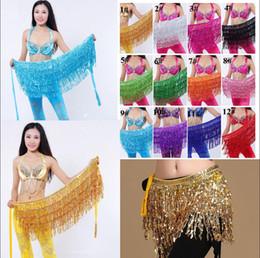 Wholesale costume belly dancing - 185cm Belly Dance Costume Shine Tassel Fringe Hip Belt Waist Wrap Skirt Dancing Scarf Ethnic Clothes Kids Stage Wear AAA599
