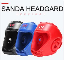 engrenagem de treinamento de boxe Desconto Chefe Guarda Boxe Protector de Cabeça Wesing Sanda Training Headgear Boxe Training Capacete pontapé protecção artes boxe