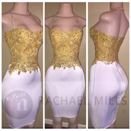 Wholesale Sky Cocktail Dress - 2018 Sexy Saghetti Strap Gold Lace Appliques Beading Prom Dresses Short Knee Length Slim Long African Cocktail Party Gowns Formal