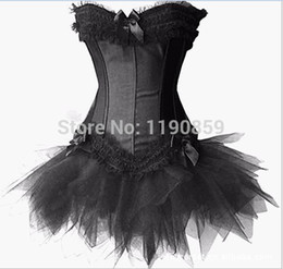 Wholesale Hot Lingerie Dance - hot sales china cheap dance costume Sexy Fashion Lady Tights Boned Satin Lingerie Corset Bustier With Tutu Skirt