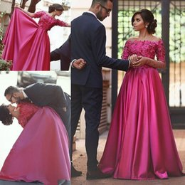 Wholesale Long Satin Fitted Dress - Arabic Dubai Islamic Muslim Fuchsia Evening Dresses A Line Off Shoulders Hand Made Flowers Fitted Long Celebrity Prom Gowns 2018 Custom Made